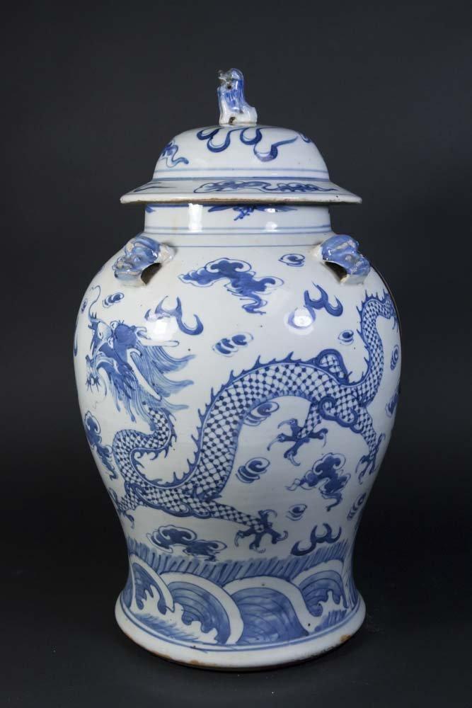 Blue & White Chinese Porcelain Covered Dragon Urn - 5