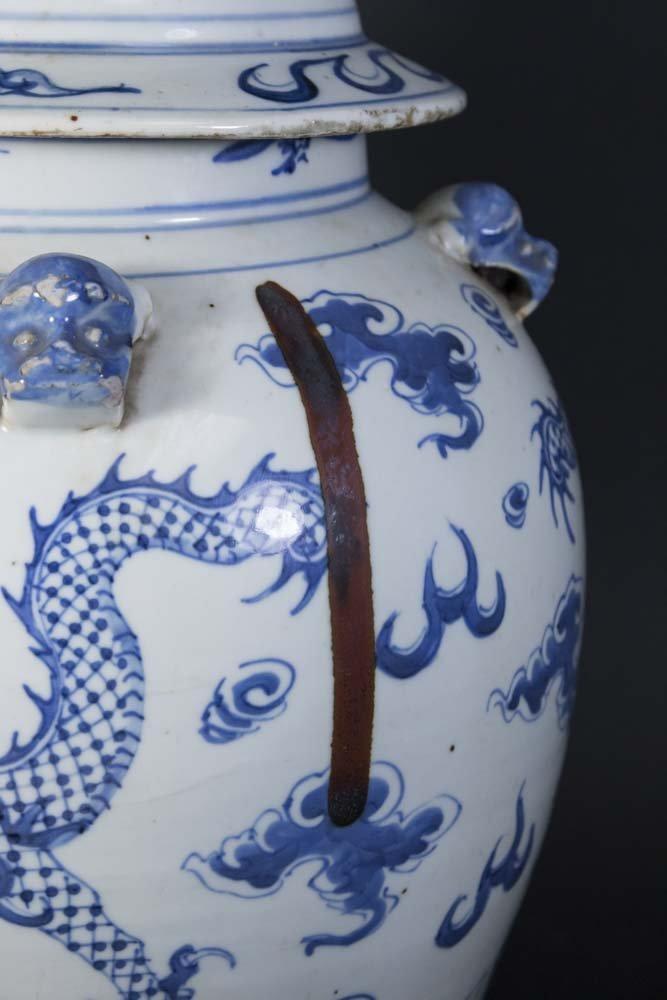 Blue & White Chinese Porcelain Covered Dragon Urn - 6