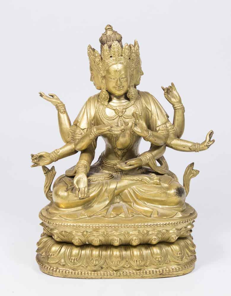 Gilt Bronze Tibetan Multi-Armed Deity