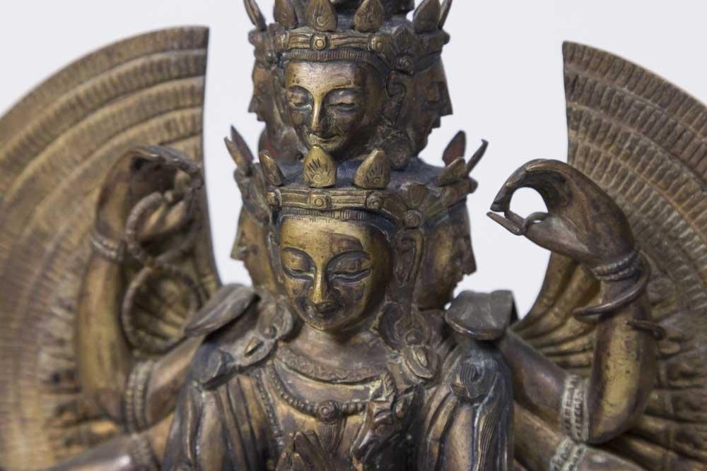 Gilt Bronze Tibetan Multi-Armed Figure - 2