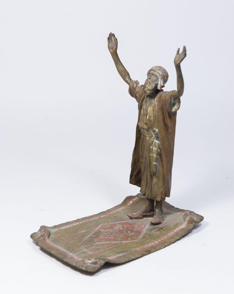 Austria Orientalist Bronze, Praying Man on Carpet