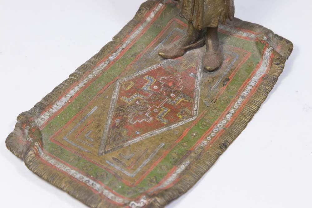 Austria Orientalist Bronze, Praying Man on Carpet - 3