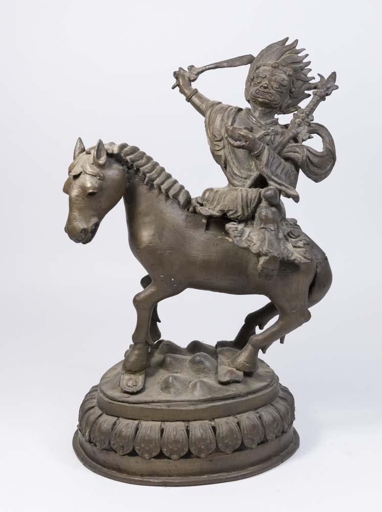 Tibetan Bronze Deity on Horse