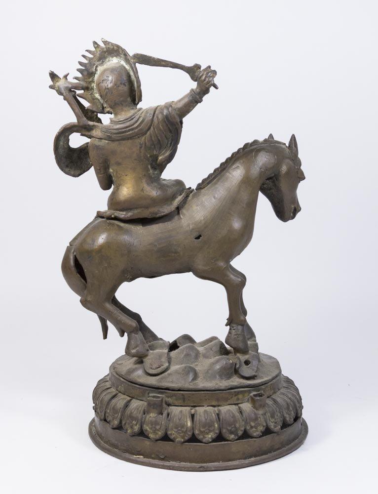 Tibetan Bronze Deity on Horse - 3