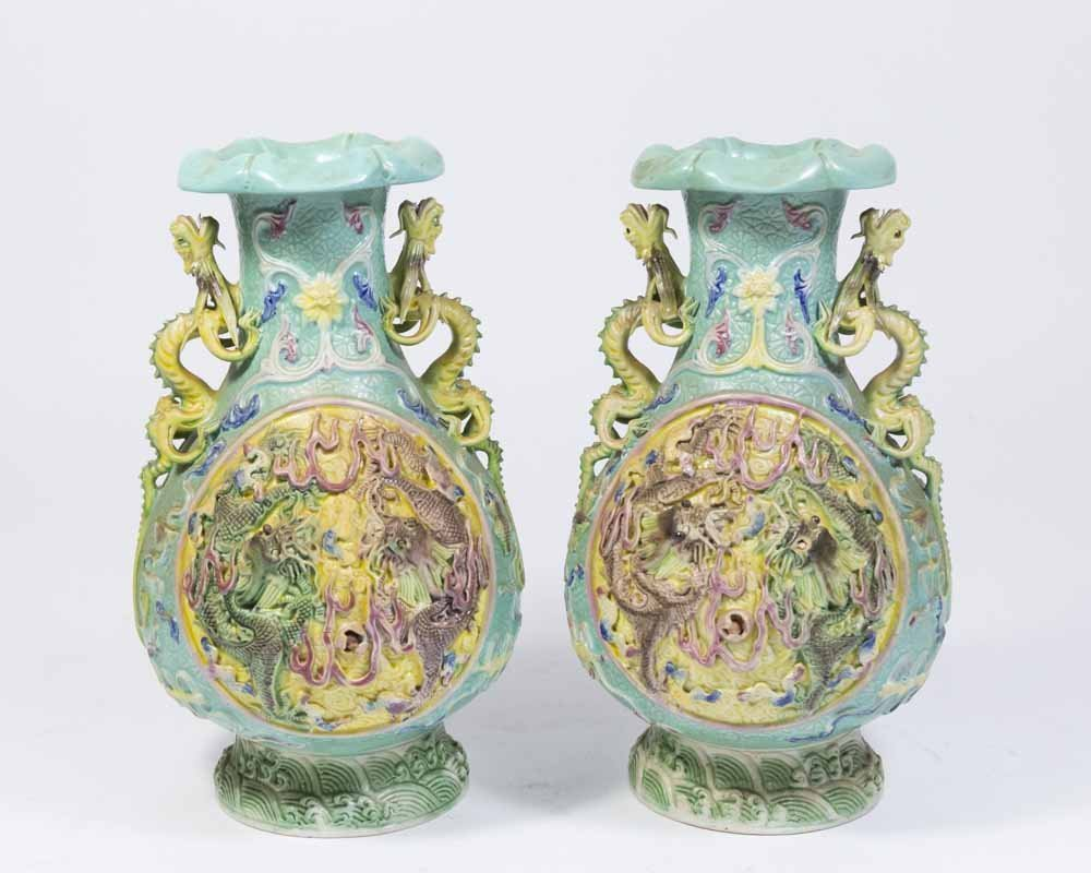 Pair Republic Chinese Porcelain Vases