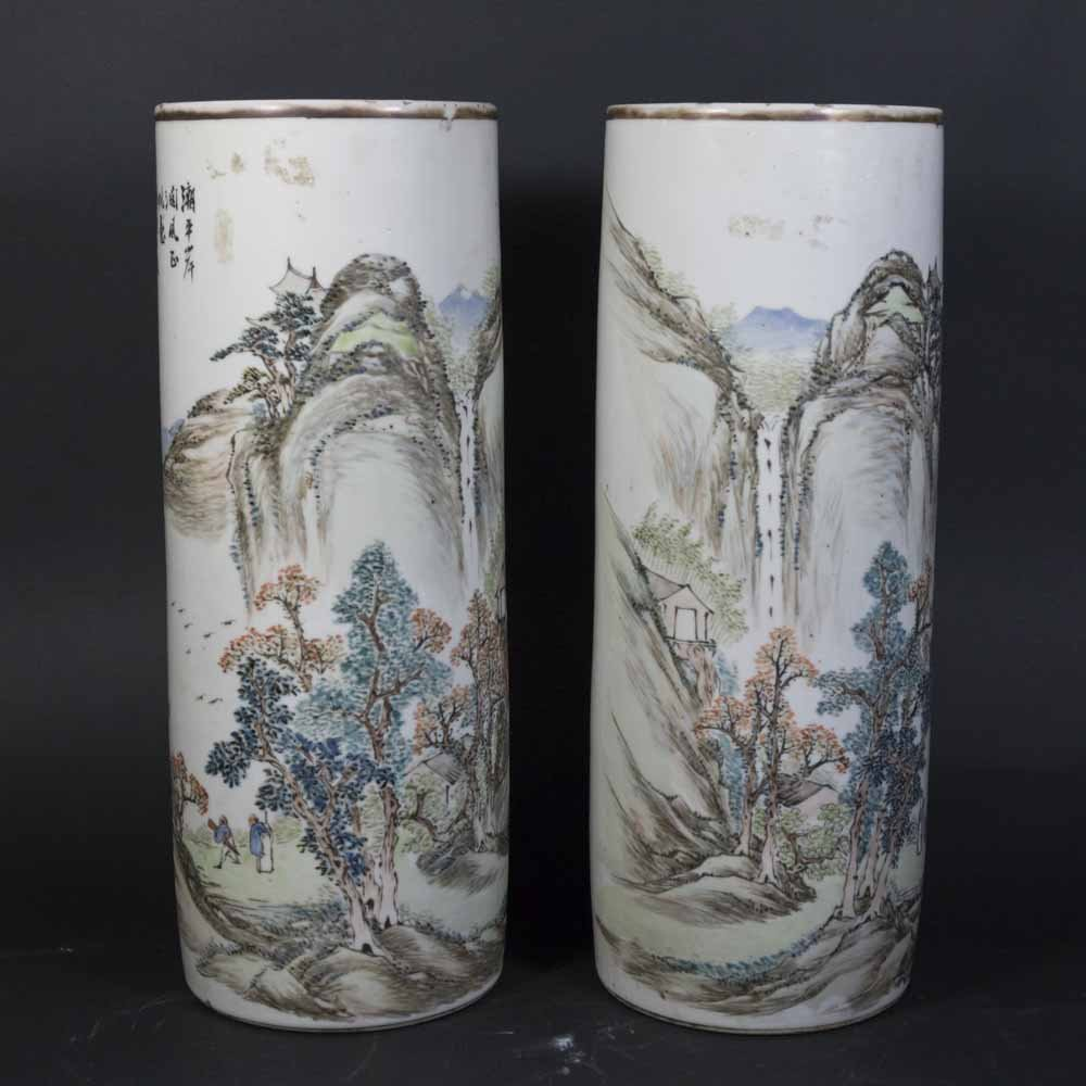 Pair Qing Dynasty Cylinder Vases