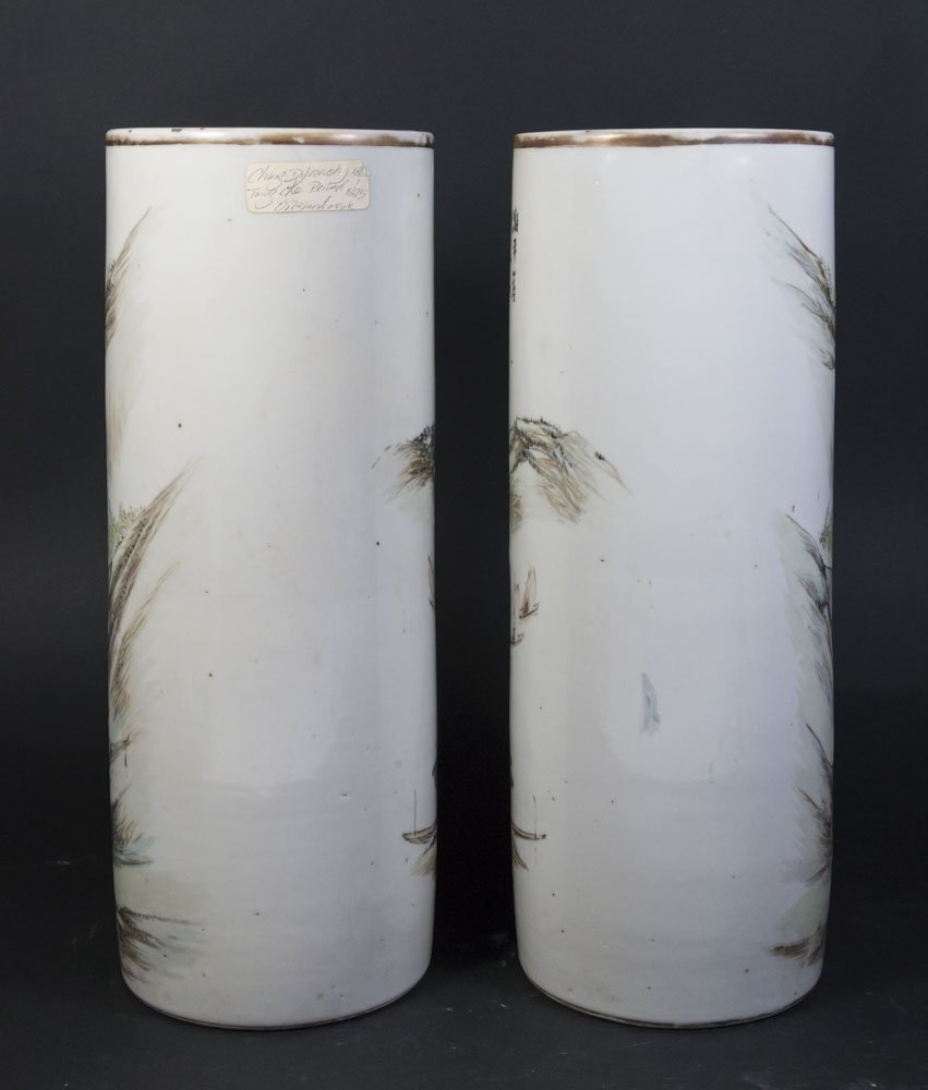 Pair Qing Dynasty Cylinder Vases - 5