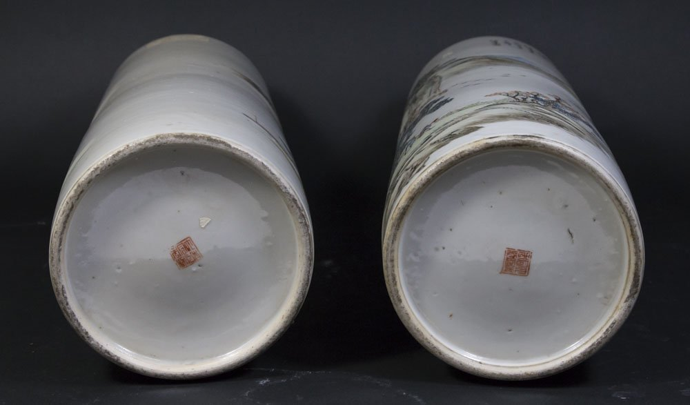 Pair Qing Dynasty Cylinder Vases - 6