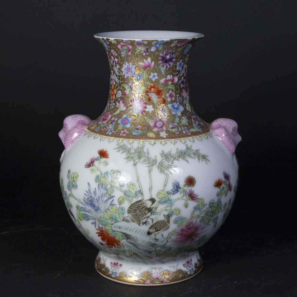 Chinese Floral Design Vase with Mask Head Handles