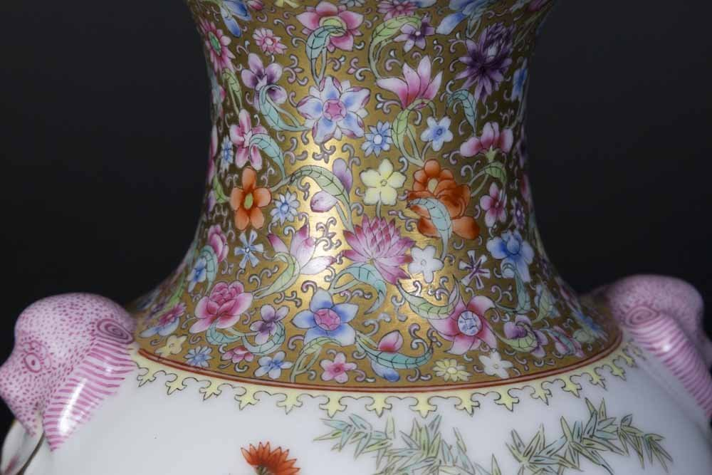 Chinese Floral Design Vase with Mask Head Handles - 4