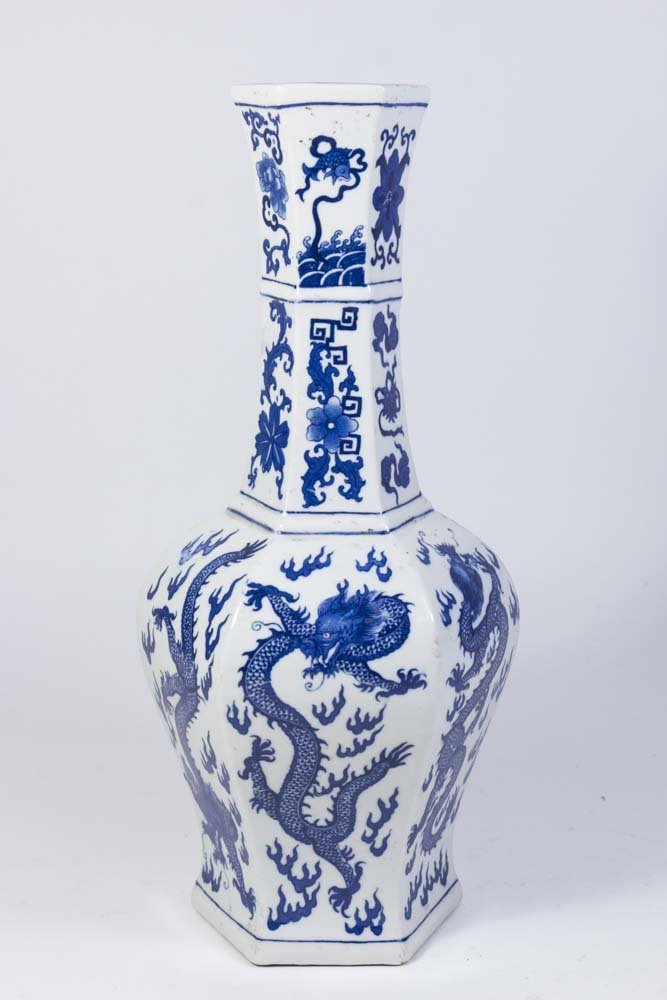 Chinese 6-Panel Underglaze Porcelain Dragon Vase