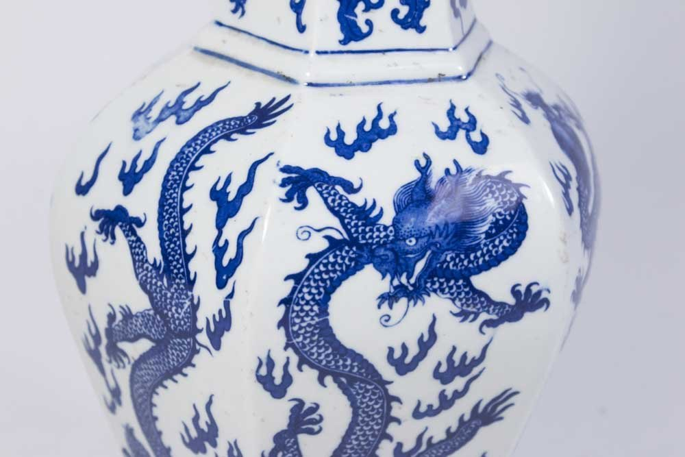 Chinese 6-Panel Underglaze Porcelain Dragon Vase - 2