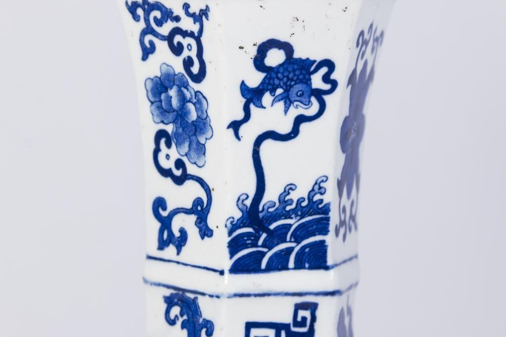 Chinese 6-Panel Underglaze Porcelain Dragon Vase - 3