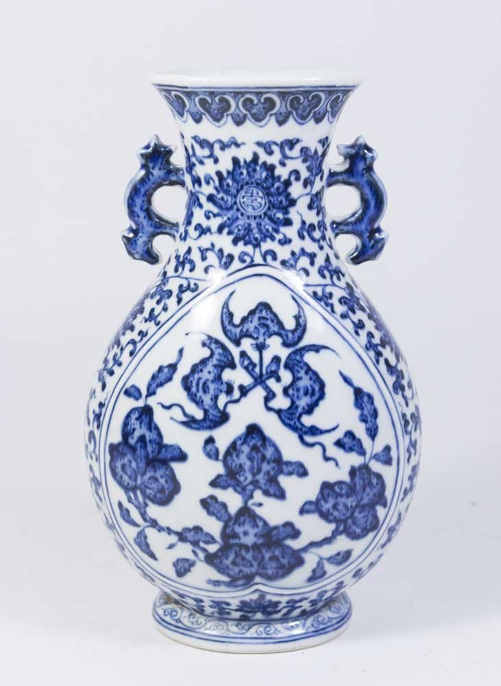 Blue & White Peach & Bats Chinese Porcelain Vase