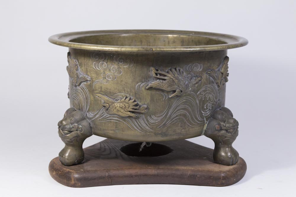 Asian Tripod Bronze Incense Burner on Wood Stand