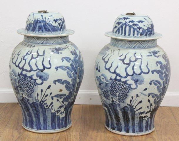 Pair Blue & White Chinese Porcelain Covered Vases