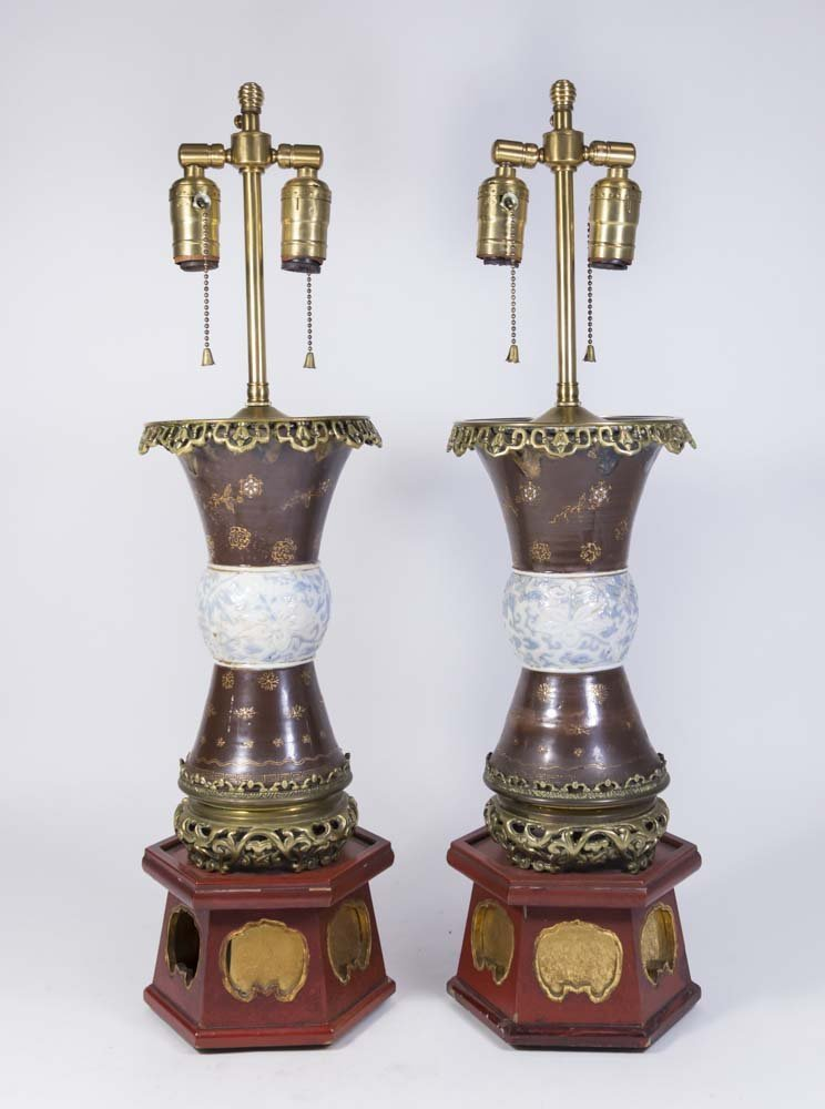 Pair Asian Style Porcelain Vases