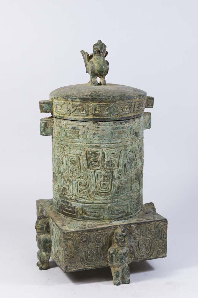 Chinese Bronze Covered Urn