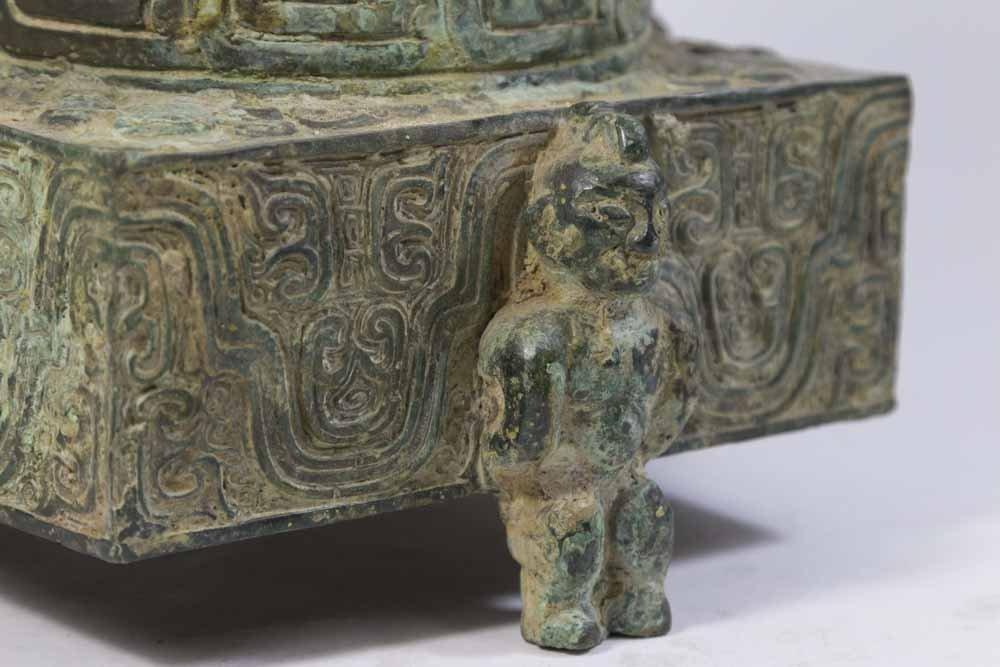 Chinese Bronze Covered Urn - 4