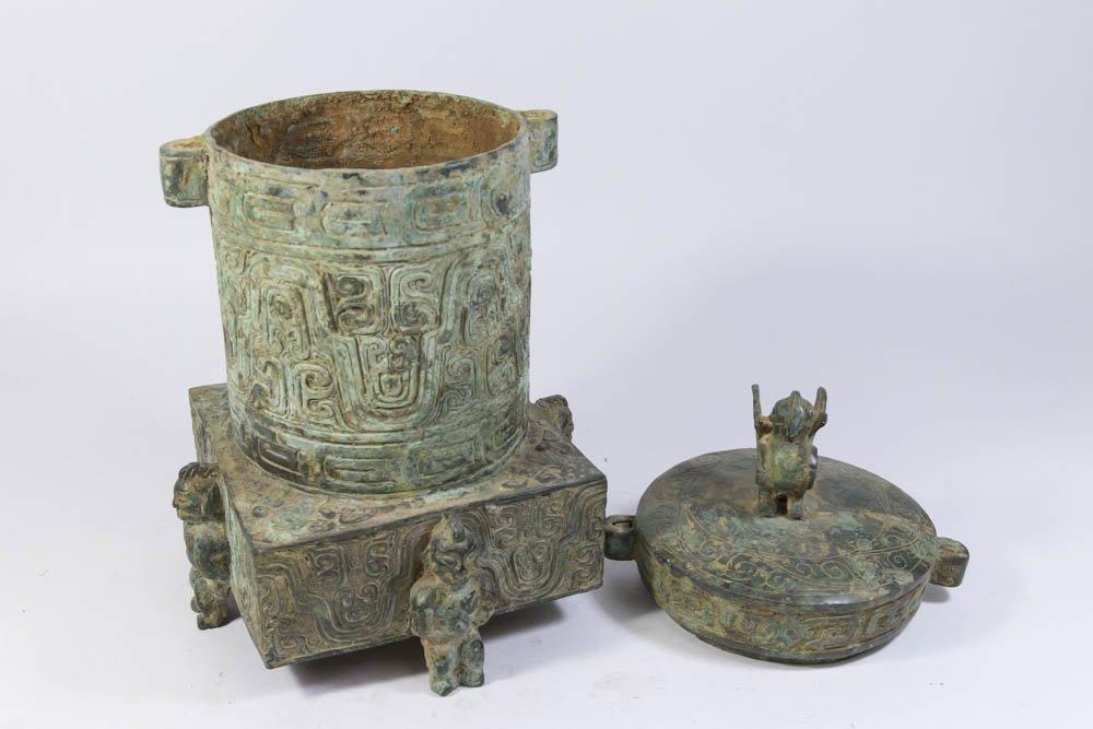 Chinese Bronze Covered Urn - 5