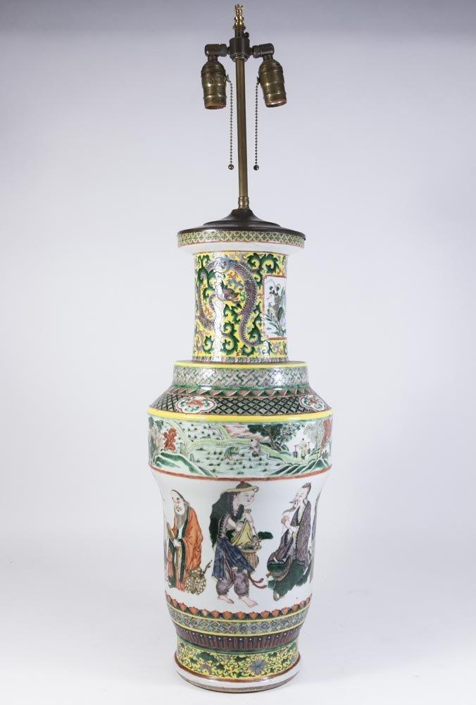 Chinese Porcelain Vase Decorated with Nine Gods