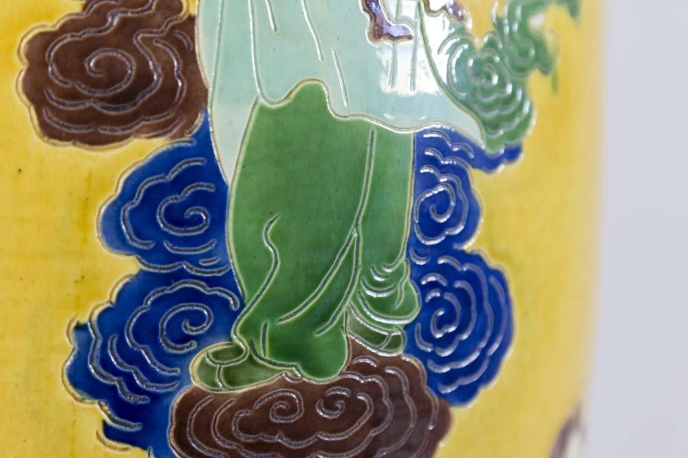 Chinese Ceramic Ochre Ground Figural Vase - 3