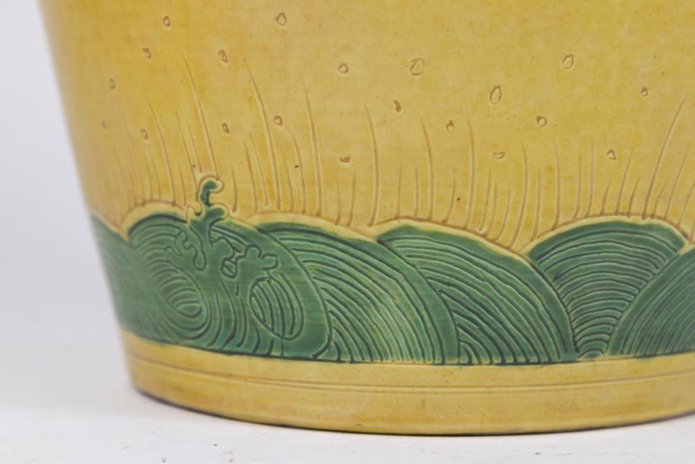 Chinese Ceramic Ochre Ground Figural Vase - 4