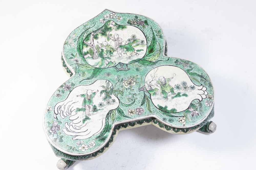 Chinese Porcelain Green Ground Trivet - 2
