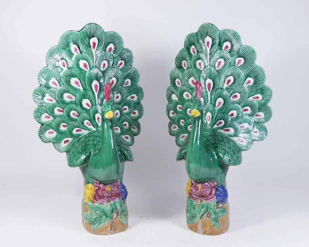 Pair Chinese Porcelain Peacocks