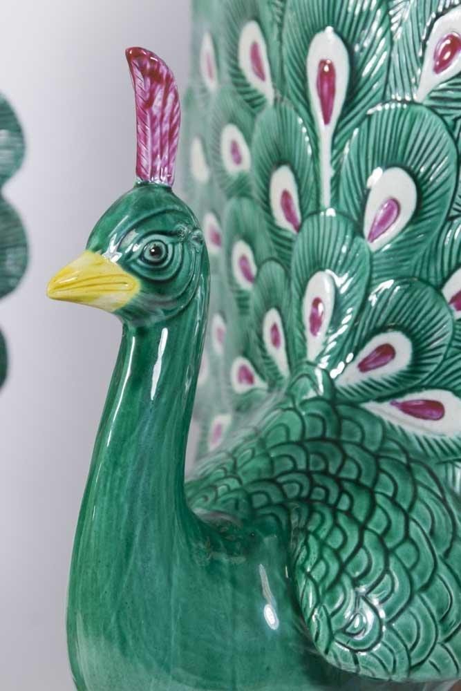 Pair Chinese Porcelain Peacocks - 2