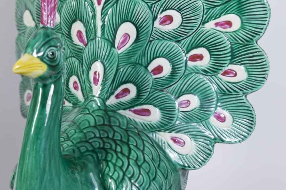 Pair Chinese Porcelain Peacocks - 3