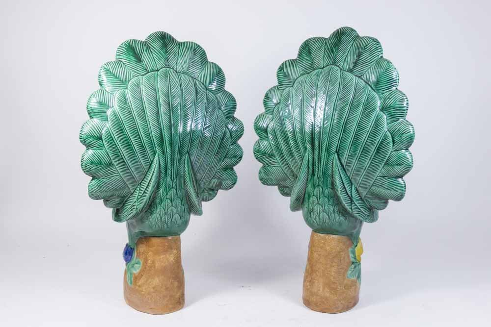 Pair Chinese Porcelain Peacocks - 5