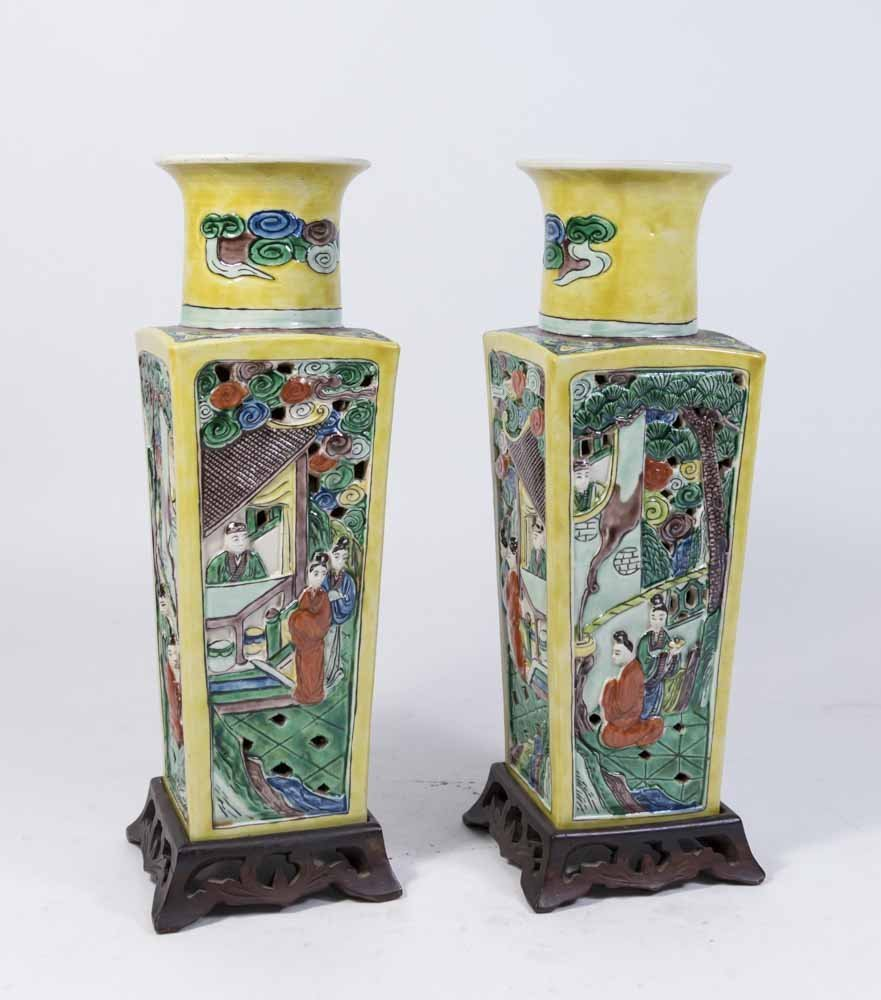 Pair Chinese Porcelain Yellow Ground Square Vases