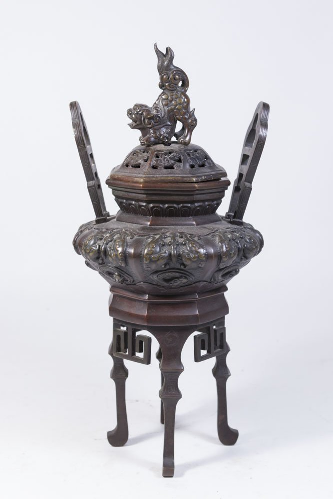 Chinese Bronze Incense Burner with Foo Dog Lid