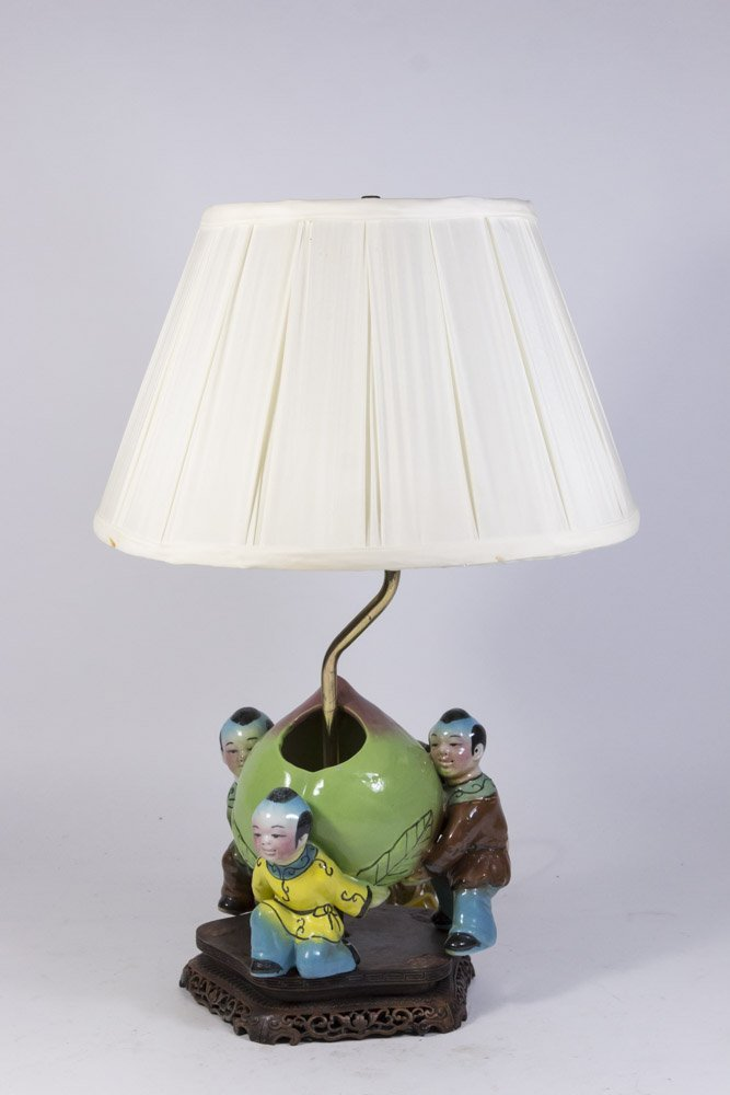 Chinese Porcelain Lamp with 3 Figures & Peach