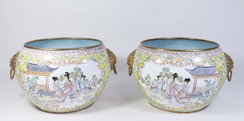Pair Chinese Enamelled Gilt Brass Vases