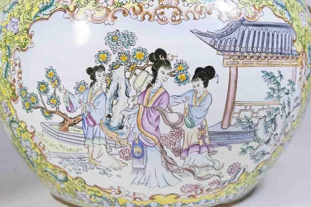 Pair Chinese Enamelled Gilt Brass Vases - 2