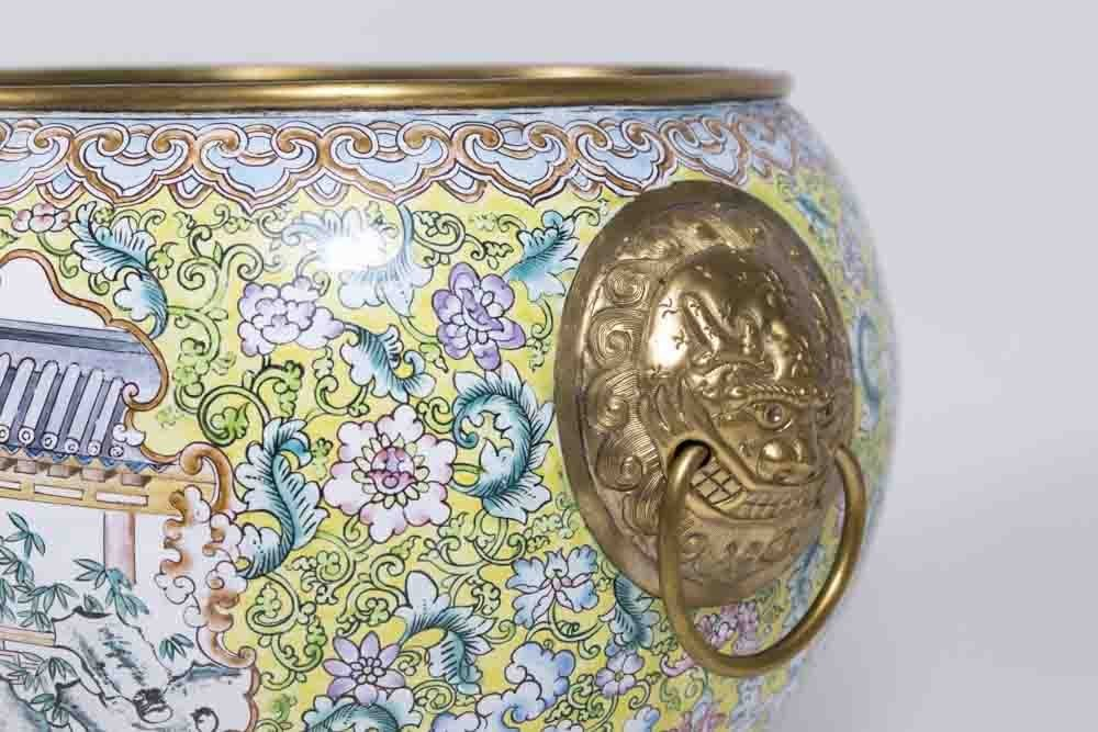 Pair Chinese Enamelled Gilt Brass Vases - 3