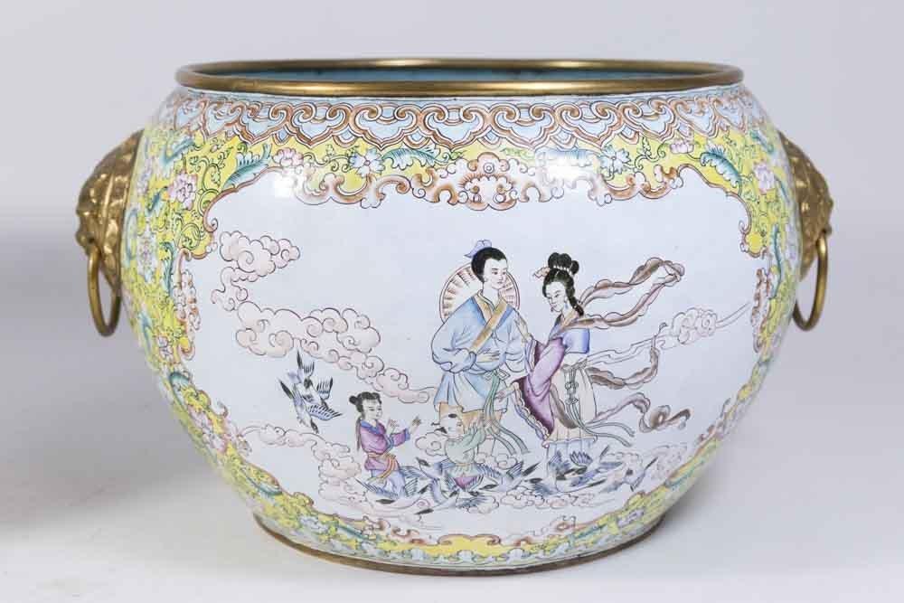 Pair Chinese Enamelled Gilt Brass Vases - 4