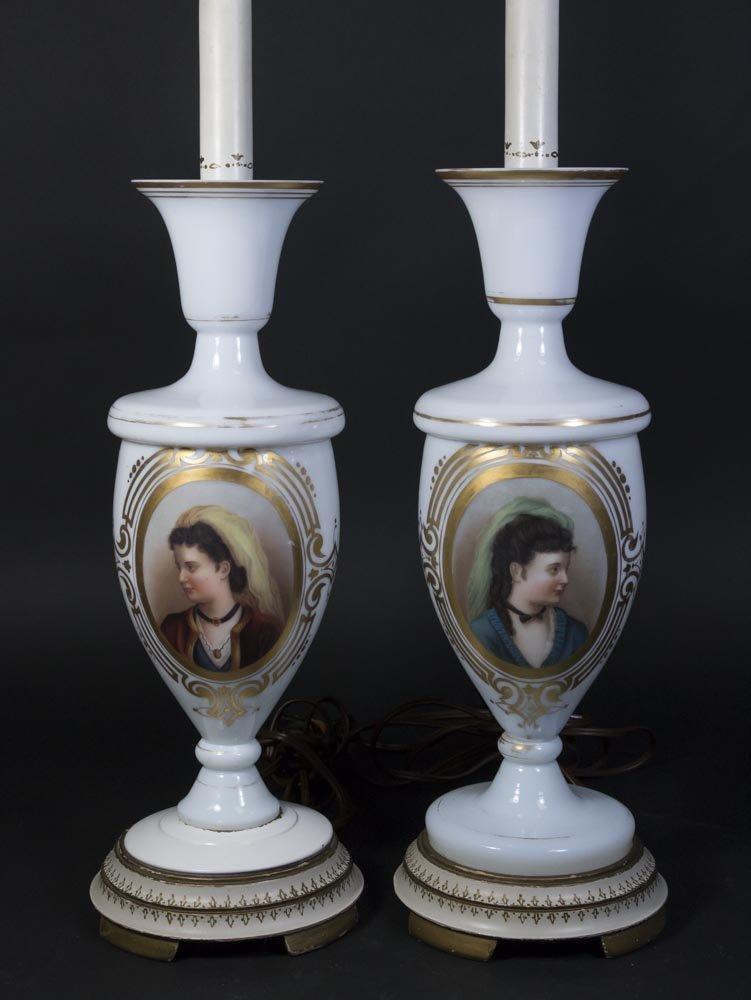 Pair Opaline Portrait Vases
