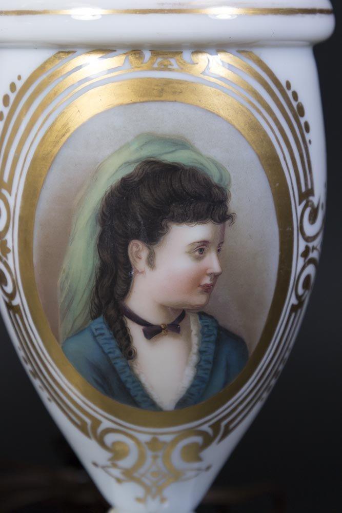 Pair Opaline Portrait Vases - 2