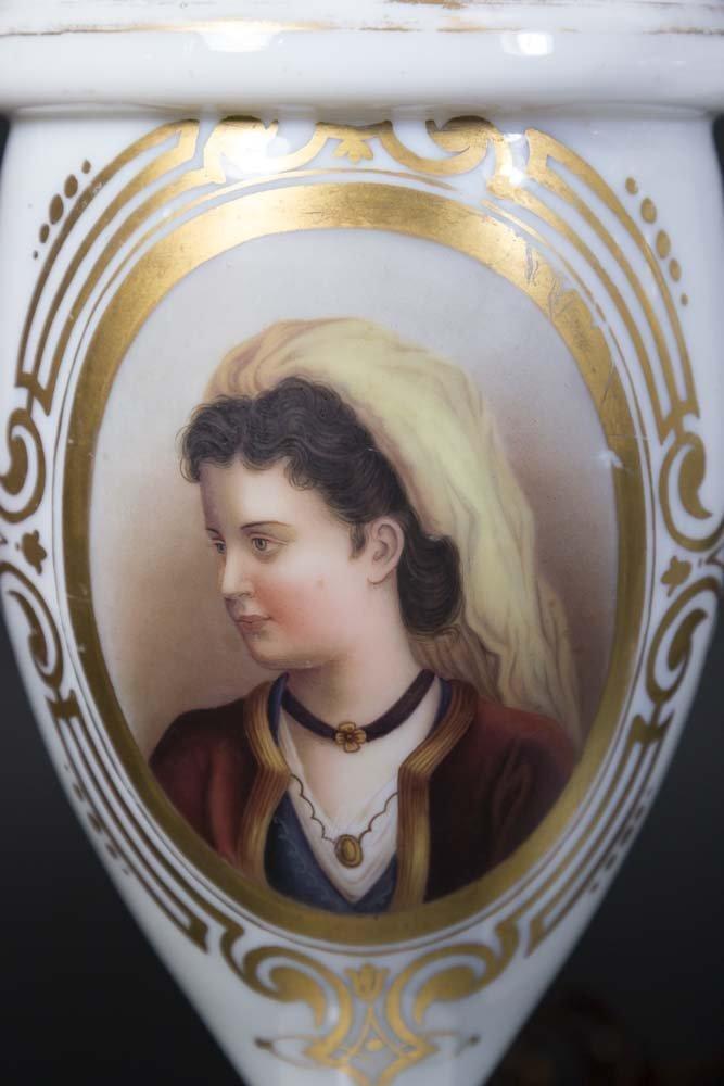 Pair Opaline Portrait Vases - 3
