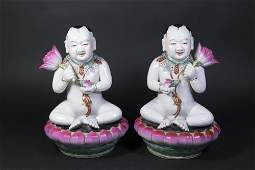 Pair Chinese Porcelain Seated Figures of Children