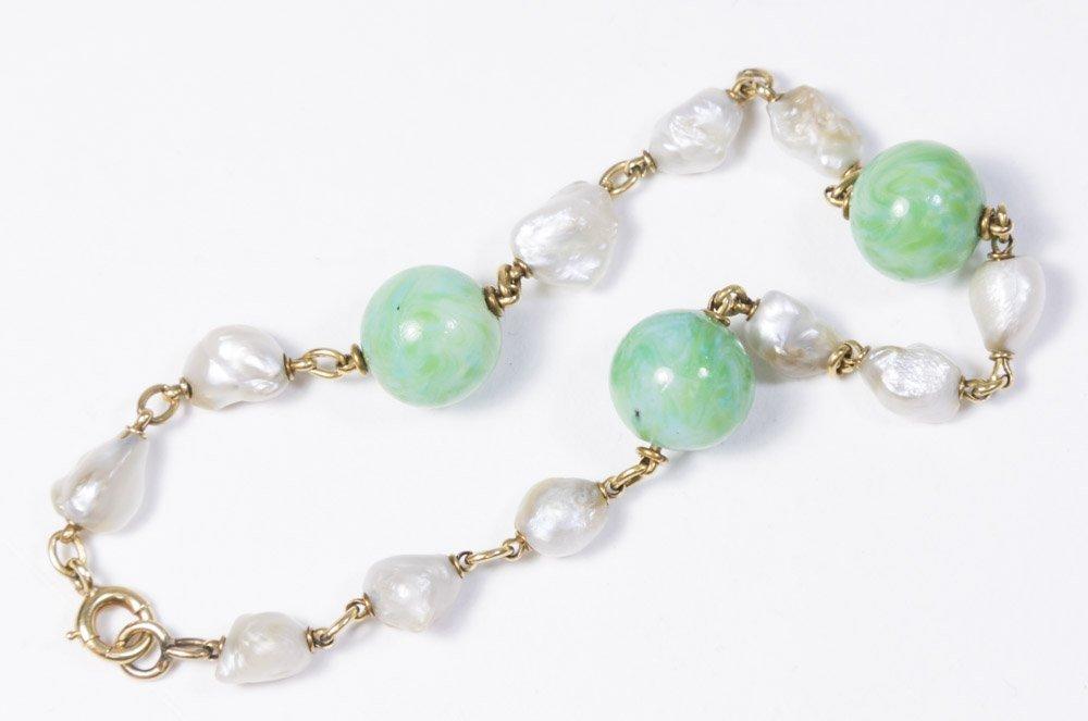 Jade & Fresh Pearl Bracelet - 2