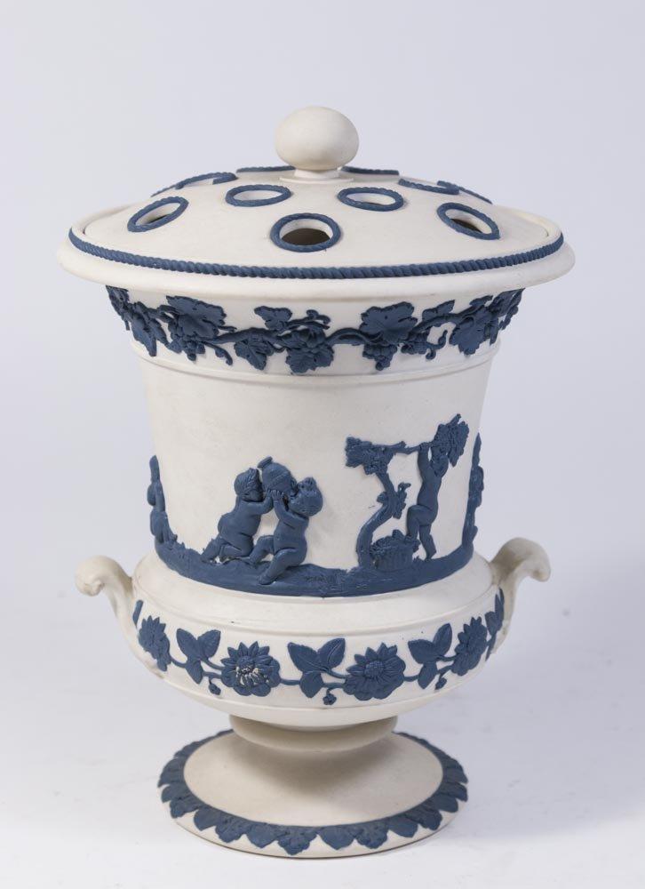 White Jasperware Vase w/ Blue Cherubs & Frog Cover