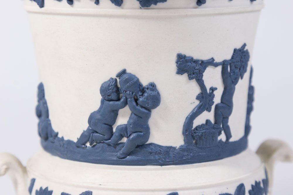 White Jasperware Vase w/ Blue Cherubs & Frog Cover - 2