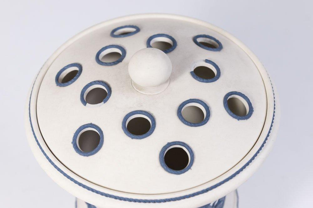 White Jasperware Vase w/ Blue Cherubs & Frog Cover - 3