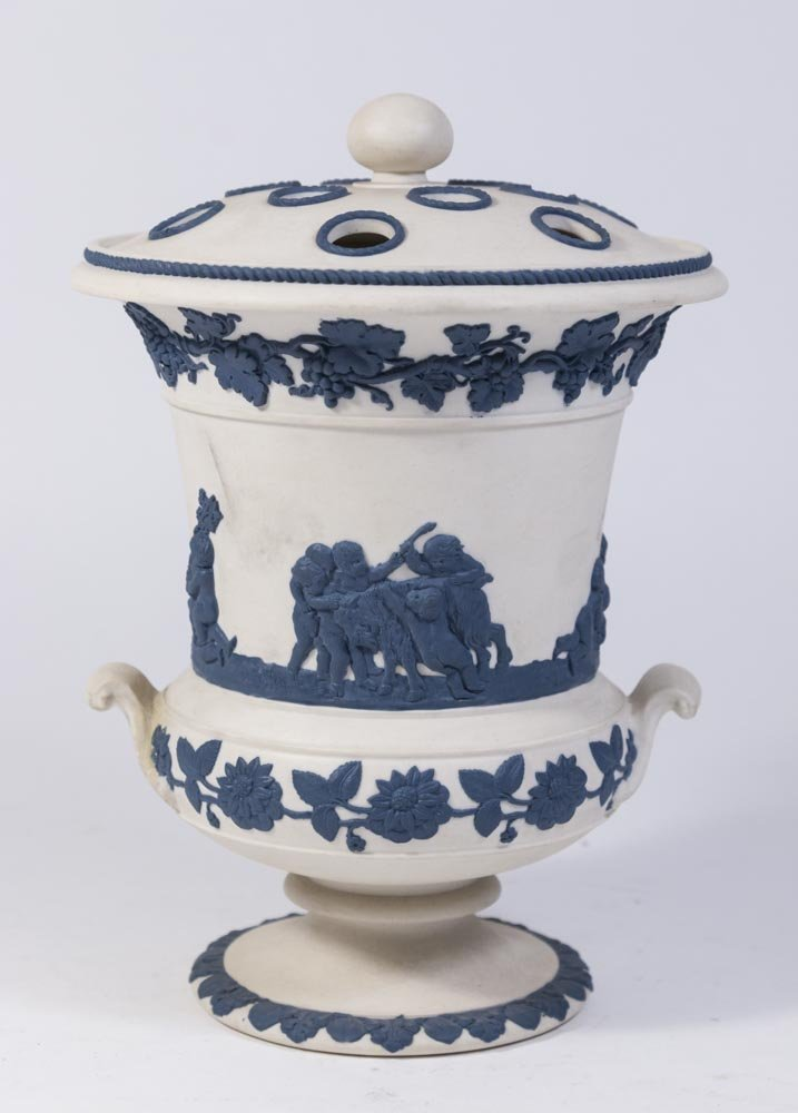 White Jasperware Vase w/ Blue Cherubs & Frog Cover - 4