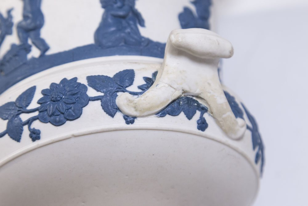 White Jasperware Vase w/ Blue Cherubs & Frog Cover - 6