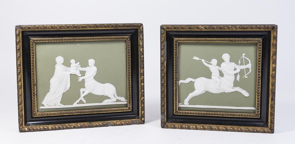 Pair Wedgwood Green & White Mythological Plaques